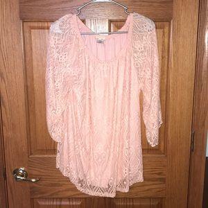 Pink lace off shoulder blouse